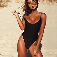 Swimsuit May Women Fused Swimwear Female Bather Solid Black Thong Backless Monokini Beach Bathing Suit XL