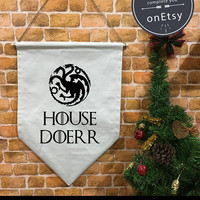 Custom Personalized Targaryen House Game of Thrones banner flag and hanging device, wall banner flag, wall hanging decoration funny gifts