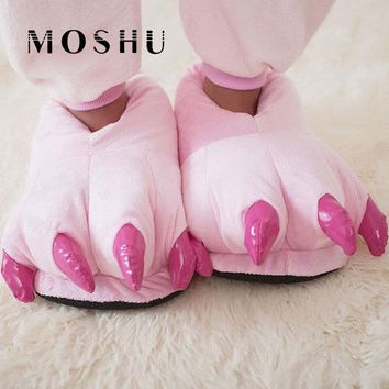 2017 Funny Animal Paw Winter Men & Women Slippers Female Monster Claw Children Slippers Cute Plush Slippers Home Indoor Shoes