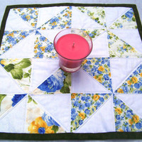 Table Topper Spinning Pinwheels Quilted Square Country Creams and Whites