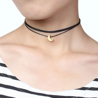 DoreenBeads New Fashion Gothic Terylene Choker Necklace Gold Plated Black Moon /Cross Pendant Sailor Moon Woman Girl Jewelry