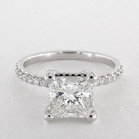 2.05 Carat Princess Cut Pave Engagement Ring in 14K White Gold