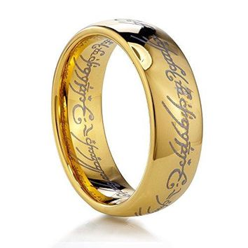 AUGUAU TUSEN JEWELRY Lord of the Rings Gold Color Tungsten Ring