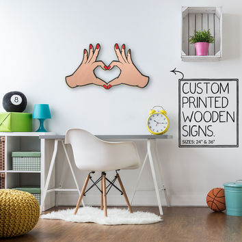 Heart HandsCustom Wood Patch Printed Sign Unique Trendy Game Room