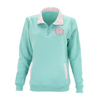 Monogrammed Gingham/Seersucker Quarter Zip Pullover - 3 Colors!