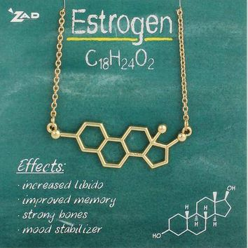 Chemical Reactions Estrogen Molecule Necklace