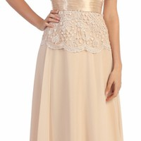 Short Sleeve V-Neck Long Gold Chiffon Dress with Lace Top (3 Colors Available)