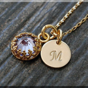 14k Gold Filled June Birthstone Necklace, Tanzanite Pendant, Personalized Birthstone Charm Necklace, Initial Charm Necklace