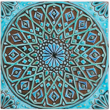 Moroccan wall hanging made from ceramic - exterior wall art - moroccan art - moroccan wall hanging - ceramic tile - moroc4 - turquoise