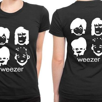 DCCKG72 Weezer Cartoon Black And White 2 Sided Womens T Shirt