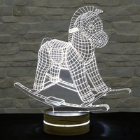 Toy Horse Shape, Art Deco Lamp, 3D LED Lamp, Kid's Room Decor, Art Lamp, Nursery Light, Plexiglass Lamp, Decorative Lamp, Acrylic Lamp