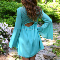 Coquette Mint Lace Back Bell Sleeve Dress