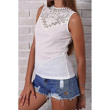 DeRuiLaDy 2018 Women Summer T Shirt Tops Sexy Sleeveless  Off Shoulder O Neck Lace Hollow T Shirts Casual Black White Top Tees