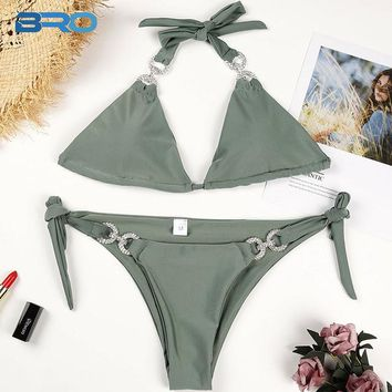 0ac86f285c 2 Two Piece Bikini BRO Diamond Bandage Bikini 2018 Summer Sexy B