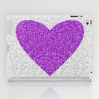 Purple Glitter Heart (Not Real Glitter) iPad Case by M Studio - iPad 2nd, 3rd, 4th Gen, and iPad Mini