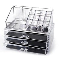 Home-it® Clear acrylic makeup organizer cosmetic organizer and Large 3 Drawer Jewerly Chest or makeup