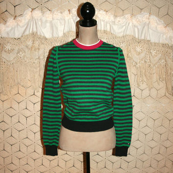 Vintage Tommy Hilfiger Green Stripe Sweater Cotton Women Sweater Pullover Sweater Preppy Vintage Sweater Petite XS Small Womens Clothing
