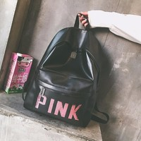 Pink Back To School Comfort College PU Backpack [10802556803]