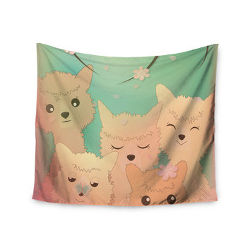 """Graphic Tabby """"Spring Alpacas"""" Pastel Animals Wall Tapestry"""