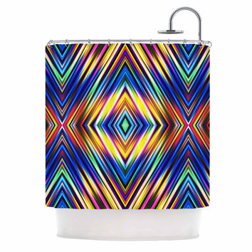 "Dawid Roc ""Multi Colors Modern Tribal"" Multicolor Tribal Shower Curtain"