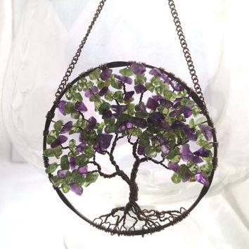 SunCatcher Tree of Life - Amethyst and Peridot on Bronze Antique Copper Tree Wire Wrapped Tree - Sun Catcher Window Wall Ornament Handmade