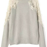 Grey Lace Accent Long Sleeve Knit Sweater