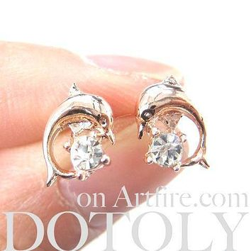Classic Dolphin Shaped Sea Animal Stud Earrings in Rose Gold with Rhinestones