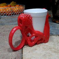 T-Rex Skull Coffee Cup Holder  3d Printed Mug Enclosure