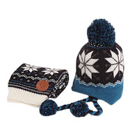 Infant Baby Winter Warm Knitting Baby Beanie Hat And Scarf Blue