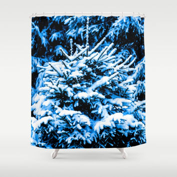 Snow covered Christmas tree Shower Curtain by digital2real