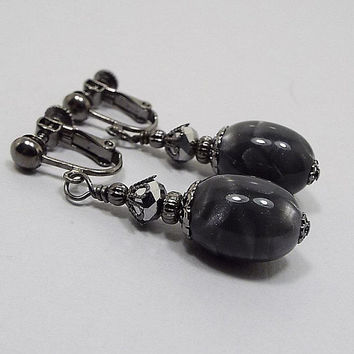 Gray Earrings, Pearly Grey Gunmetal Plated, Goth Earrings, Drop Earrings, with Vintage Lucite Beads, Clip on Earrings Lever Back Hook