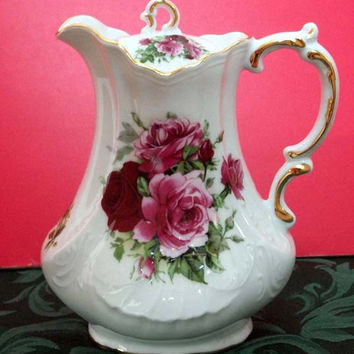 Antique Scroll 30 oz USA Hand Deocorated Porcelain Teapot