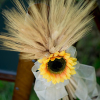 Set of 2 Sunflower and Wheat fall wedding pew hanger (featured in Met Bride Magazine)