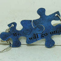 Couple Key chains Puzzle Key chains My heart will go on Leather Blue Leather