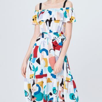 Women's new summer strapless graffiti print strapless dress