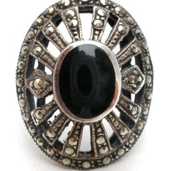 Sterling Silver Black Onyx & Marcasite Ring Vintage
