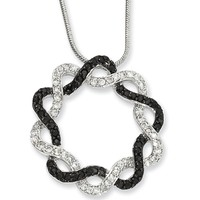 18 Inch Rhodium Plated Black and Clear CZ Double Star Necklace by Kelly Waters