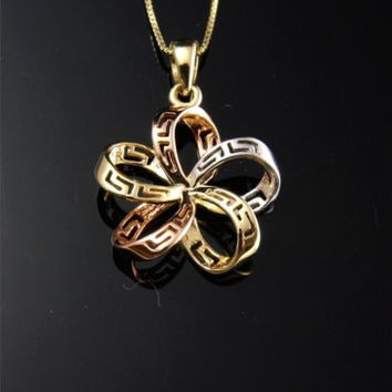 SOLID 14K TRICOLOR GOLD HAWAIIAN OPEN PLUMERIA FLOWER GREEK DESIGN PENDANT 16MM