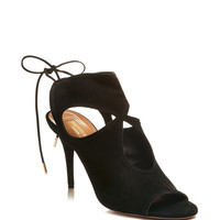 Sexy Thing Lace-Up Suede Sandals in Black