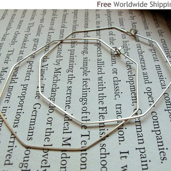 Sterling Silver Octagon Hoop Earrings - Geometric Hoops - Large Modern Earrings - Thin, Hammered, Everyday Wear Jewelry
