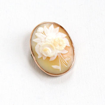 Antique 10k Gold Filled Art Deco Carved Shell Cameo Brooch- Vintage 1930s Floral Flower Bouquet Pin Jewelry