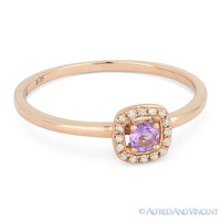 0.14ct Round Pink Amethyst Gemstone & Diamond Halo Promise Ring in 14k Rose Gold