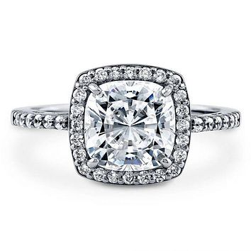 A Perfect 3CT Cushion Cut Halo Russian Lab Diamond Engagement Ring