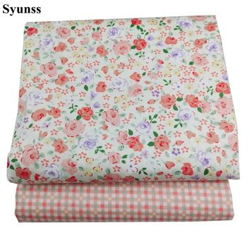 Syunss Color Floral Grid Print Twill Cotton Fabric DIY Handmade Sewing Patchwork Baby Cloth Bedding Textile Quilting Tilda Tissu