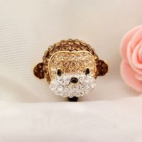 Earphone Jack Accessory 1pcs Of Crystal 3D Monkey Crystal Pearls / Dust Plug / Ear Jack For For Iphone 4 4S / Samsung / iPad / iPod Touch / Other 3.5mm Ear Jack