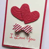 Valentines day Cards / I love You Card / Happy Valentines Day/ Valentines Card with a Bow