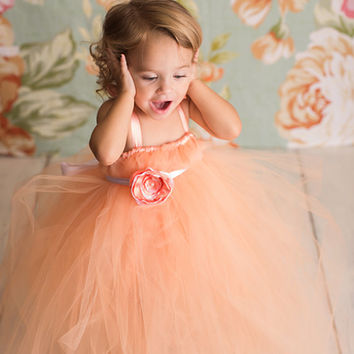 Sweet Peach Flower Girl Tutu Dress / Flower girl dress / Junior Bridesmaid dress / Pageant dress / Peach tutu dress / Peach dress