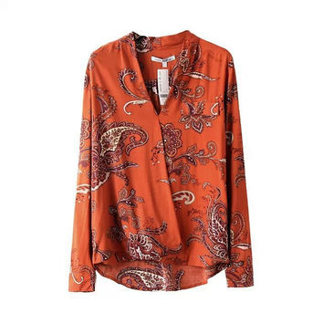Summer Women's Fashion Tops V-neck Classics Print Shirt [5013325252]