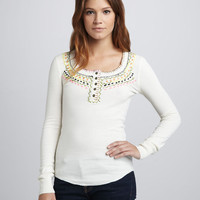 Free People Blanket Stitch Embroidered Top SOLD OUT Ivory Size Small Retail $88 | eBay