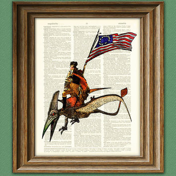 President George Washington riding a Pterodactyl by collageOrama